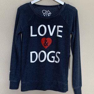 Chase brand, Love & Dogs Sweatshirt in deep blue